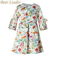 Bear Leader Girls Dress 2017New Autumn European American Style Kids Flore Pattern Bow Princess Dress Luxury