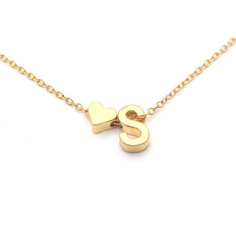 Mini nome inicial gargantilha colar 26 letras & coração pingente personalizado colar feminino colares collier presente jóias xl217