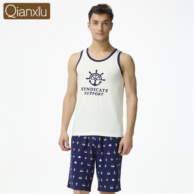 Qianxiu 2017 Brand Pajamas Men's cotton sleeveless unique printing design sleepwear Man Lounge Wear Pajamas set Loungewear