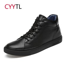 CYYTL Brand Men Leather Shoes High Top Fashion Sneakers Soft Male Winter Warm Loafers Zapatos de Hombre Zapatillas Casual Shoe fashion men shoe genuine leather man mixed colors business mens lover casual single shoes zapatillas deportivas zapatos hombre