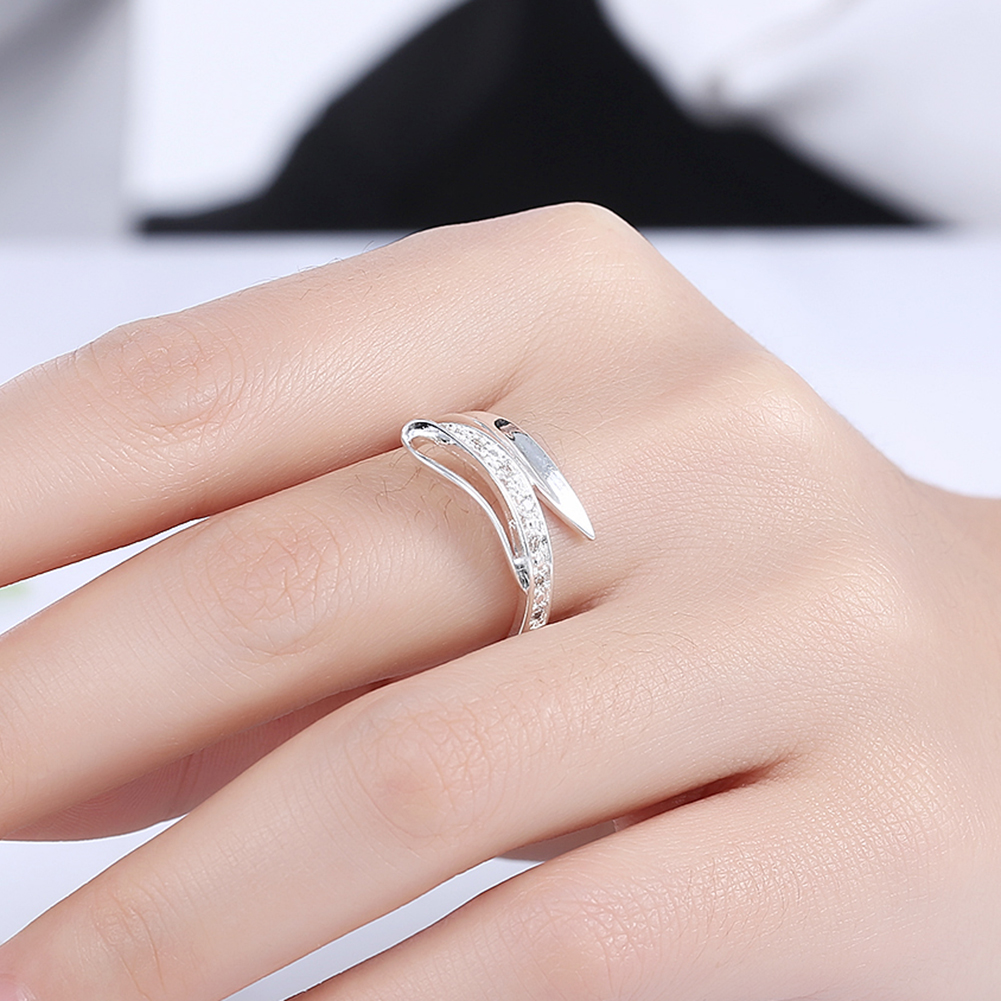 Hot Sale Exquisite White Crystal Ring 925 Sterling Silver Engagement ...