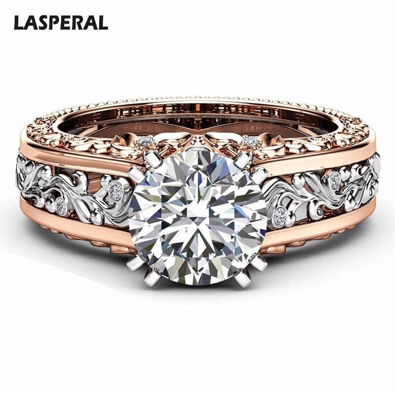 LASPERAL 2018 New Rings Women Champagne Round Rings For Women Copper Cubic Zircon Ring Female Wedding Engagement Crystal Jewelry