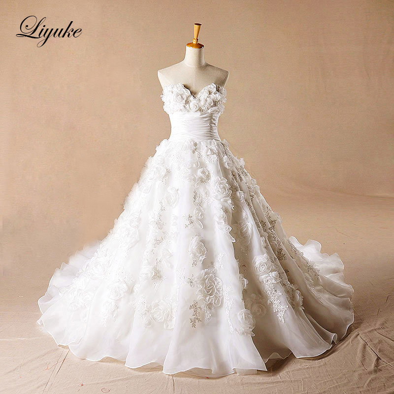 Liyuke Glamorous Satin Sweetheart A Line font b Wedding b font Dress 3D flowers Appliques Backless