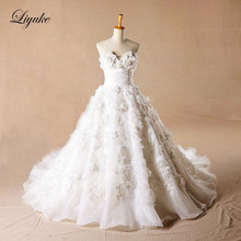 Liyuke Glamorous Satin Sweetheart A-Line Wedding Dress 3D flowers Appliques Backless Chapel Train Wedding Gown Bridal Dress