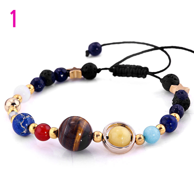 Universe Galaxy Eight Planets Guardian Star Natural Stone Beads Bracelet for Women Men Jewelry Gift TT@88