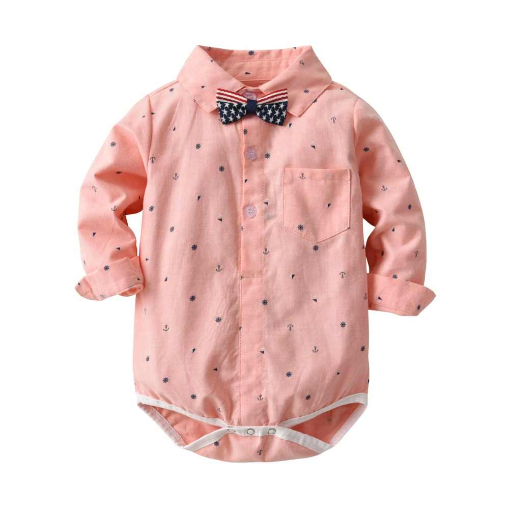598c6e467 Gentleman Baby Boy Clothing cotton Infant Shirt Blouse Newborn Wedding Wear  Baby Rompers Long Sleeve Overalls