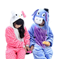 Дети пижамы устанавливает Зима фланель животных Осел cat пижамы для девочек Мальчик рождество пижама для детей ребенок с капюшоном пижамы