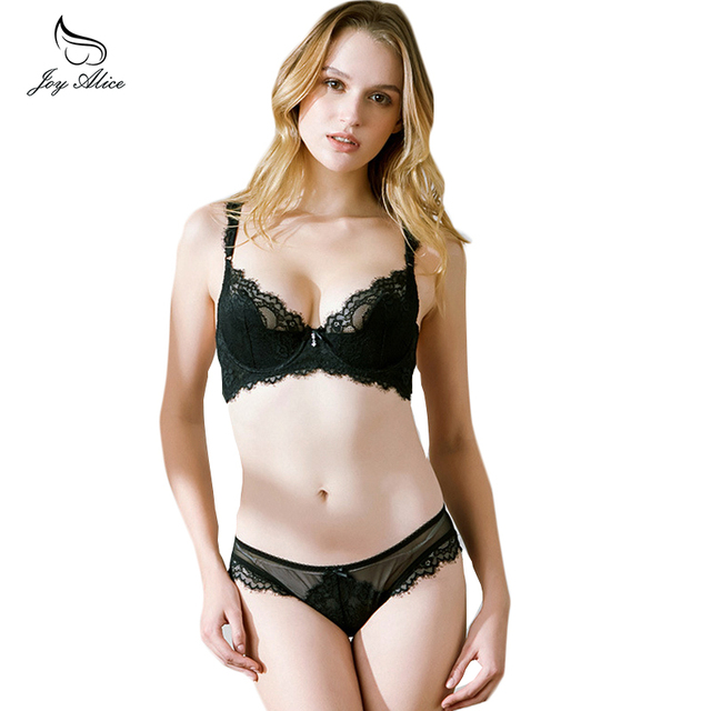 3eb764f002 Women Bra Set Ultra-thin Red Black Lace Bras Underwear Plus size Push up Bra  and Panties Set Cup A B C D cup