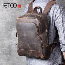 94d57b10a478 AETOO ретро из воловьей кожи мужская сумка кожаная ручной работы  компьютерный рюкзак
