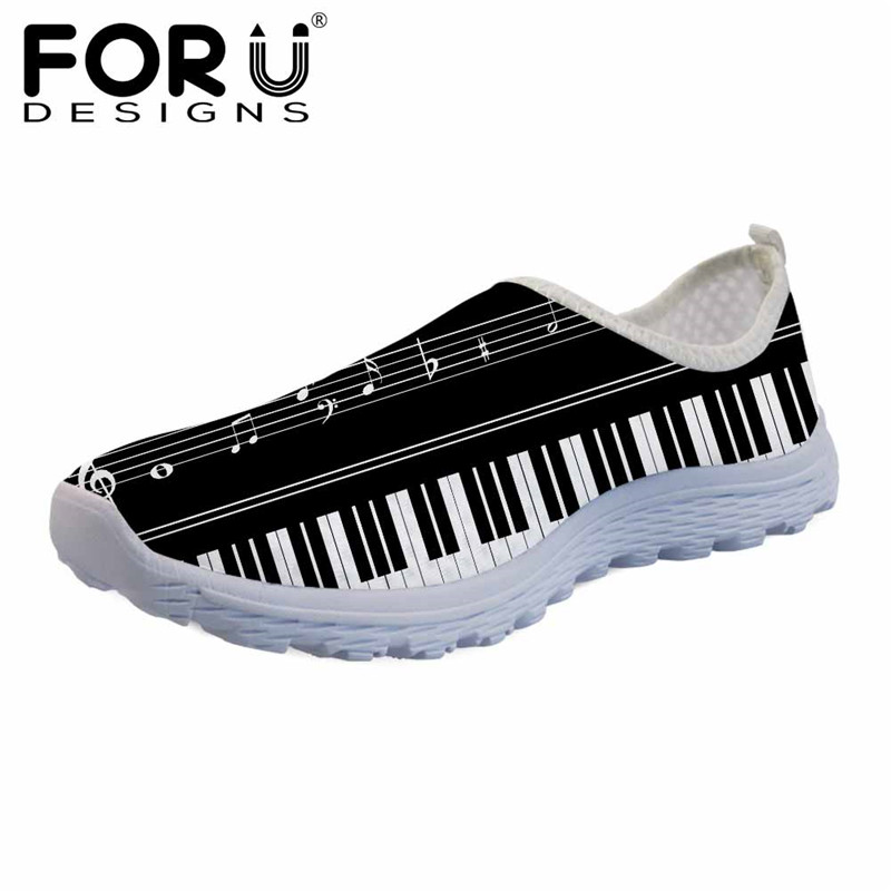 FORUDESIGNS Women Summer Slip-on Flats 3D Music Notes with Piano Keyboard Light Mesh Sneakers Casual Female Beach Water Shoes forudesigns musical note women sneakers flats fashion girls casual beach light loafers female summer slip on shoes woman walking