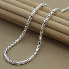 mens necklaces chains collar  925 Sterling Silver Necklace Fine Fashion 4mm Jewelry Chains for men