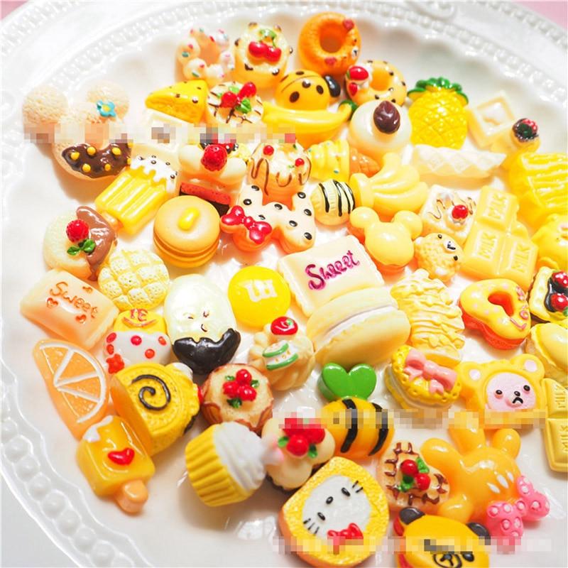 50PC/Set Yellow Cream Donut Bread DIY Resin Crafts Accessories DIY Children Hair Decoration Phone Case Accessories
