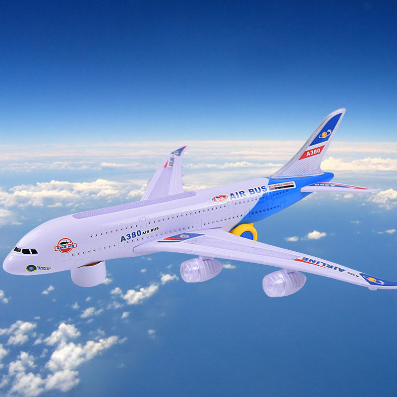 43cm Plastic Airbus A380 Model Airplane Electric Flash Light Sound Toys Airbus Model Plane Universal Airplane Toys For Kids