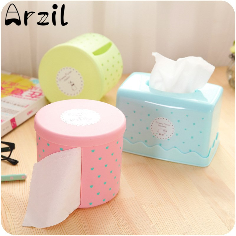 Storage Canister Tissue Box Round Waterproof Plastic Toilet Paper Holder  Large Dots Broader For Office Living Room Bathroom