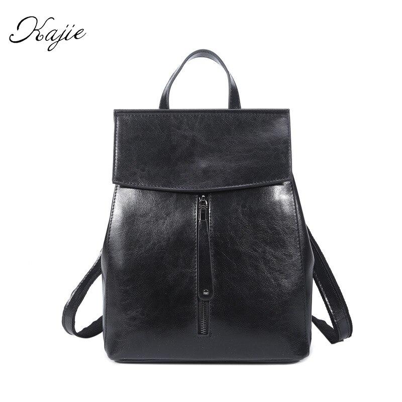 Kajie 2017 Vintage Oil Wax Genuine Leather Backpack Women School Bags Famous Brand Ladies Shoulder Bag