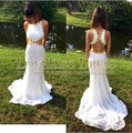 White Lace Prom Dress Sleeveless Backless Vestido De Festa Vestido Longo Cut Out Waist Gold Beading Prom Dresses Custom Made