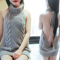 New 2017 Summer New Turtleneck Sleeveless Long Virgin Killer Sweater Japanes Knitted Sexy backless Women Sweaters And Pullovers