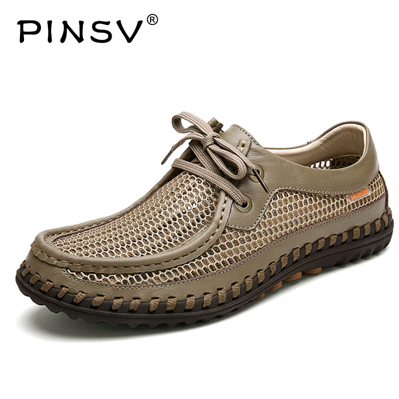 PINSV Casual Shoes Men Loafers Mesh Air Men Casual Shoe Lace Up Men Leather Shoes Chaussure Homme Sapato Masculino high quality men casual shoes fashion lace up air mesh shoe men s 2017 autumn design breathable lightweight walking shoes e62