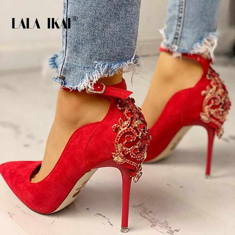 LALA IKAI High Heels Shoes Women Pumps Office Lady Flock Pointed Toe Wedding Shoes Sexy Diamond Pumps Sapato Feminino 014C3709-4