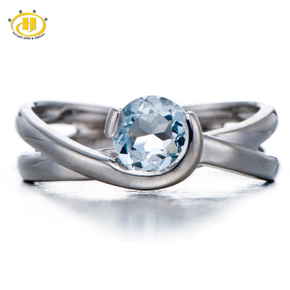 HUTANG Stone Jewelry Round 6mm Natural Aquamarine Solid 925 Sterling Silver Ring Engagement Wedding Fine Gemstone Jewelry Gift