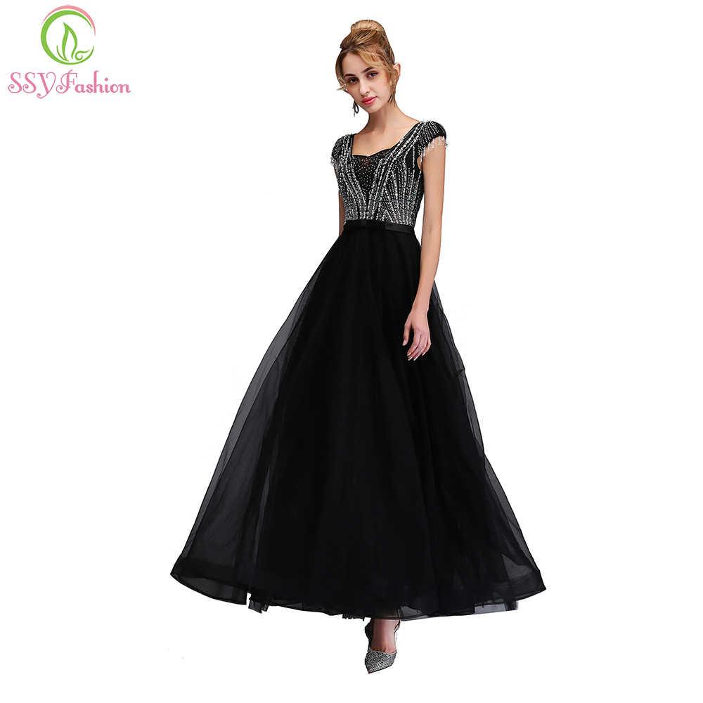 7e087c3ad61 Ssyfashion новая Банкетная элегантное вечернее платье черный Бисер блестящие  длиной до пола партия платье нестандартного Вечерние