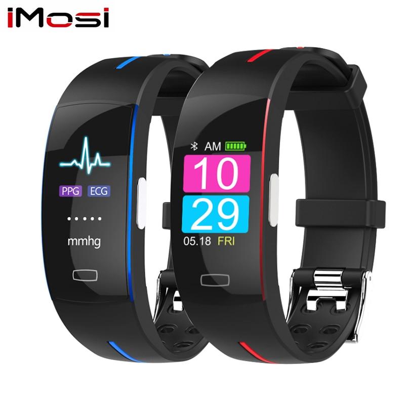 Imosi H66 blood pressure wrist band heart rate font b monitor b font PPG ECG smart