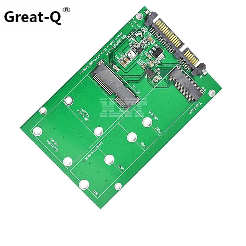 mSATA & NGFF M2 to SATA Adapter Converter mSATA/NGFF SSD to 2.5inch SATA Adapter Support mSATA SSD + M.2 NGFF SSD dual msata raid to 22pin sata adapter 2 5 inch sata 3 0 enclosure usb3 0 to 2 msata sata 3 raid 0 1 free shipping