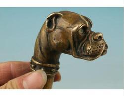 Miedź mosiądz rzemiosło mosiądz czysta miedź stary Qing Ming mosiądz chiński mosiężny ręcznie rzeźbione figurka psa trzciny kijki trekkingowe głowy