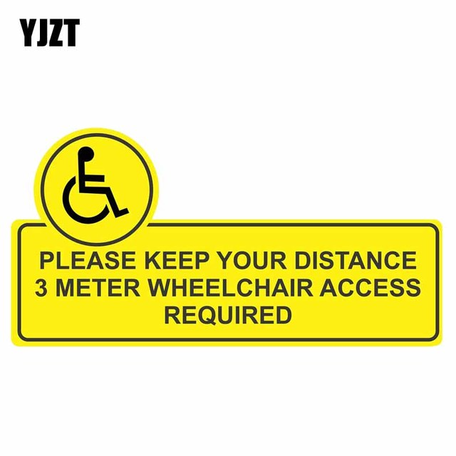 Yjzt 15 5cm8cm funny keep your distance 3 meter wheelchair access required car sticker
