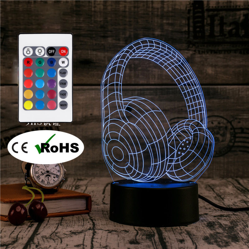 3D Led Novety LightingクリエイティブギフトナイトライトテーブルランプヘッドセットライトLed Home Corridor Hotel Party Atmosphere Lights audifonos en 3 d