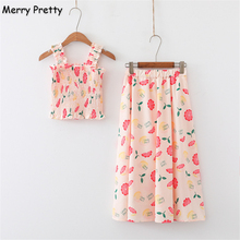 Merry Pretty 2019 Womens Two Piece Sets 5 Colors Cartoon Fruit Print Short Camis And Knee Length Skirts Sweet Style Summer