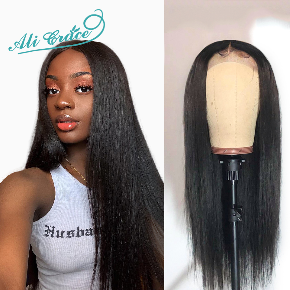 Lace-Front Human-Hair Ali-Grace Brazilian Hairline Plucked Straight 150%Density