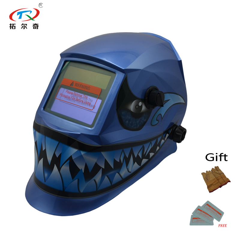 Tools Trq-hd05-2233ff Trqwh Black Face Welding Helmet Auto Darkening With Blue Weld Glove Long Life Use Best Quality Fast Shipp 2019 New Fashion Style Online Welding Helmets
