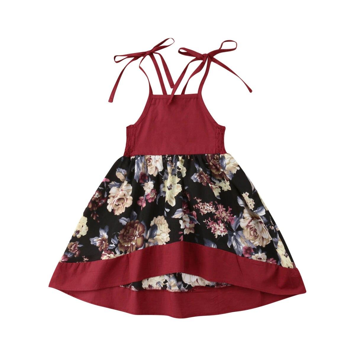 2019 Fashion Red Love Heart Kids Girl Cute Bear Summer Dress Princess