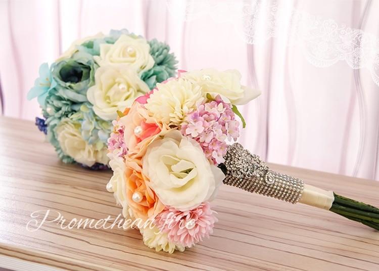 Fresh Pink Tiffanyblue Silk Flower Bridal Wedding Bouquet ...