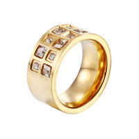 Heyrock Fashion Stainless Steel Gold Plated Black Blue White Zircon Wedding Engagement Party Rings For Women