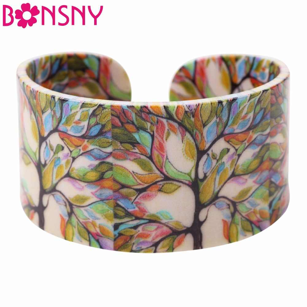 Bonsny Acrylic Colorful Tree Pattern Wide Retro Bracelets Bangles Fashion Jewelry For Women 2017 New Spring Summer Accessories