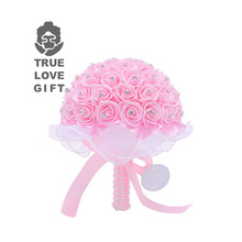 10 Colors Handmade Foam Flowers Crystal Wedding Bouquets Romantic Bridesmaid Rose Bridal Bouquet Ribbon For Wedding Mariage
