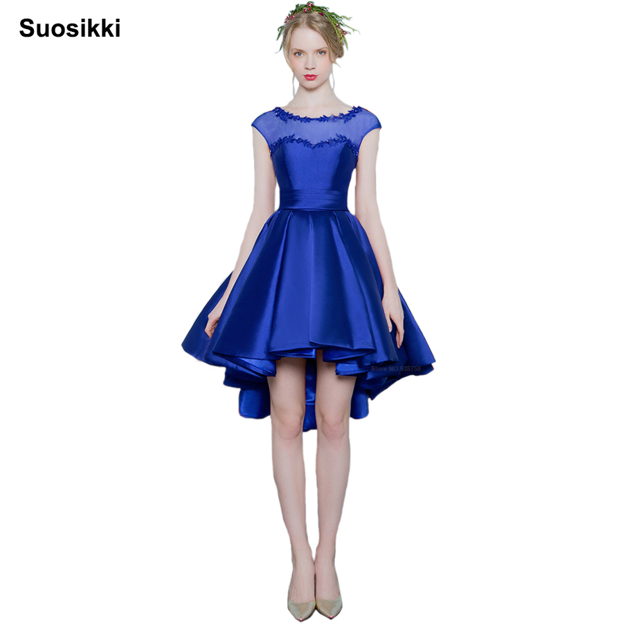 Suosikki Short Front Cocktail Dress 2018 Real Photo Sleeveless Formal Prom Robe Scoop Neck Lace Evening Prom Dresses