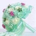 Пакет с Коробкой 4 цветов Зеленая мята Свадебные Букеты 2017 Искусственный цветок Фиолетовый Свадебный букет де mariage Свадебные Accessies P22