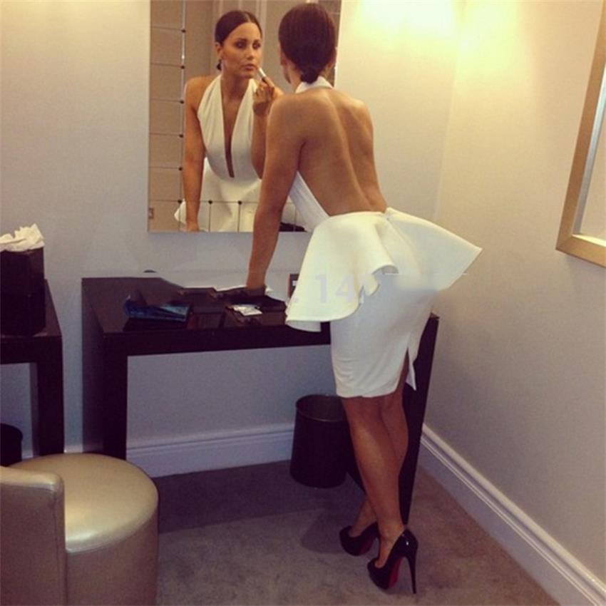 2020 V cou blanc robes de Cocktail fête célébrité robe de bal femmes genou longueur licou épaule dénudée