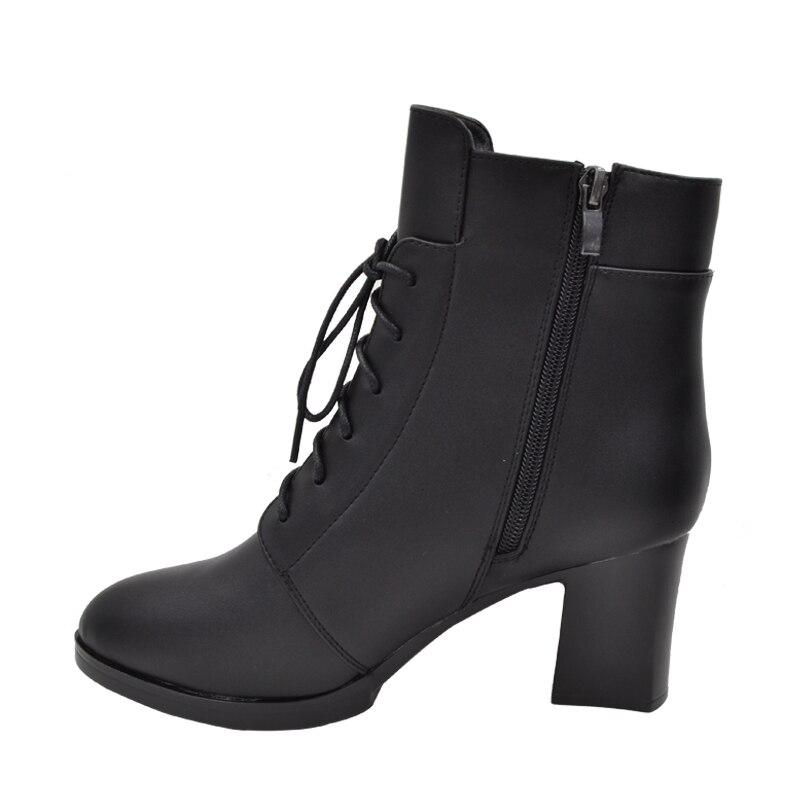 Invierno Cuero Altos Zapatos Negro Niñas Tacones Aa40230 Cortas Mujeres Calidad Fur as Cuadrados La With Botas Motocicleta Moda Alta De Pictur q7wAq1f