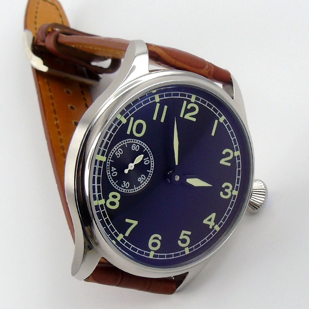 44mm parnis Black Dial Stainless steel Case Luminous Hands Leather strap Top Brand 17 Jewels Hand Winding movement men's Watch
