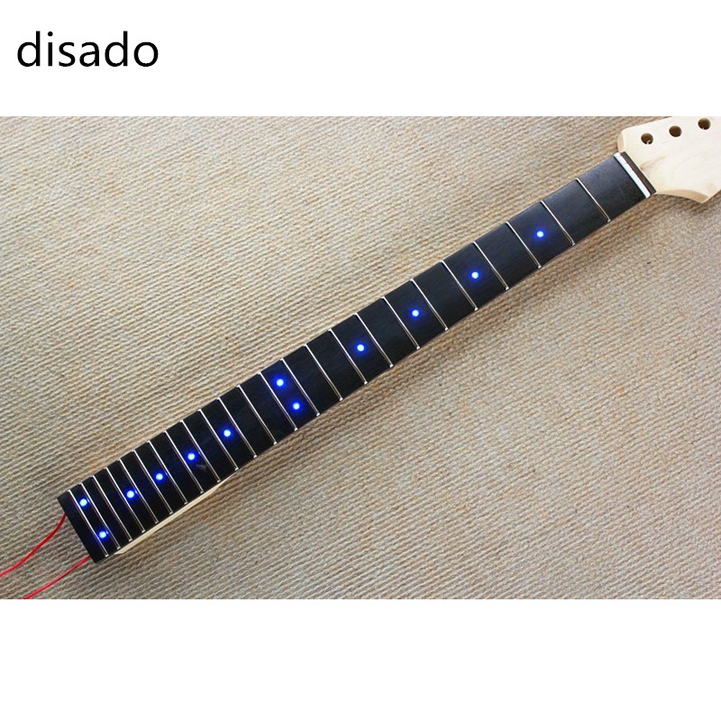 disado 24 frets Inlay LED dots Rosewood Fretboard maple Electric Guitar Neck Guitar Parts musical instruments accessories two way regulating lever acoustic classical electric guitar neck truss rod adjustment core guitar parts