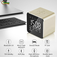 Mini Portable Wireless Bluetooth 3.0 Speaker Dual Alarm Clock 3D Stereo Music Player with Mic Call Digital Desk Clock Home Decor