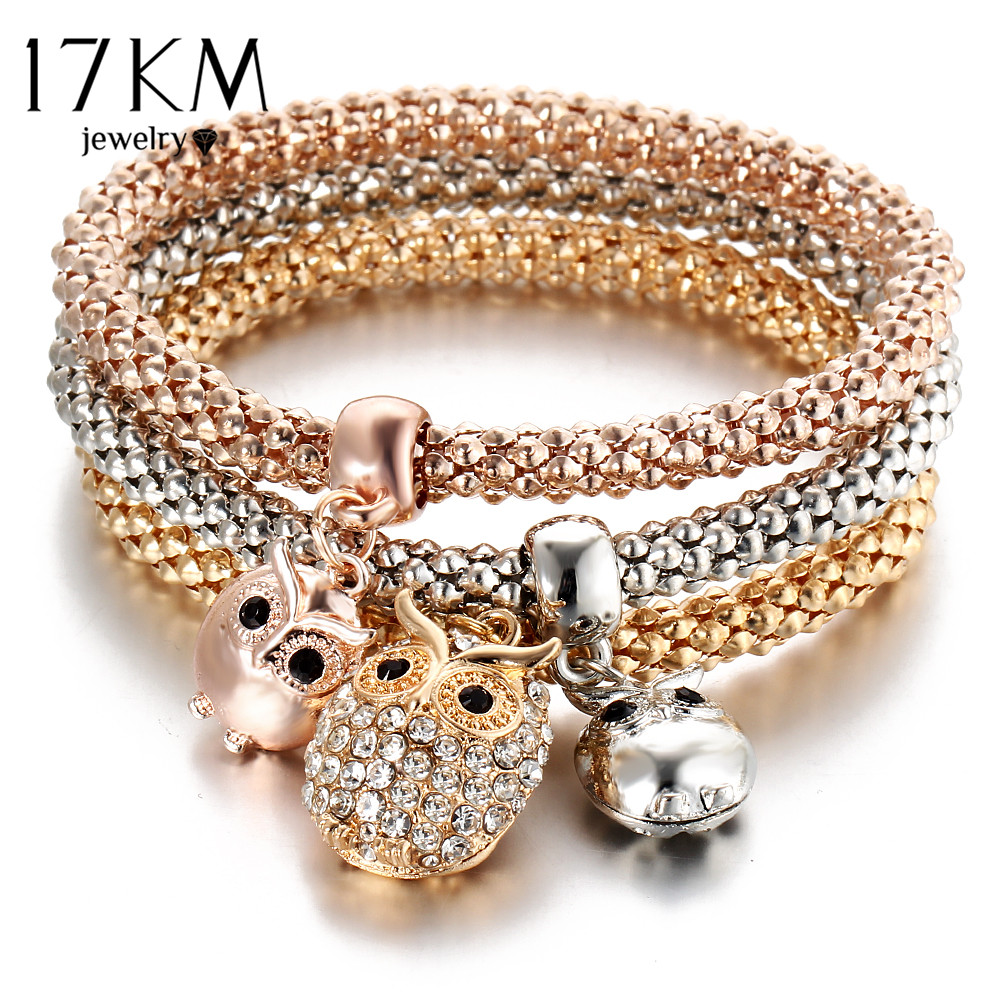 17km 3pcs Gold Color Crystal Owl Charm Bracelets For Women Elephant Bracelet Multilayer Bangles Pulseira Feminina 2018 New In Chain Link From