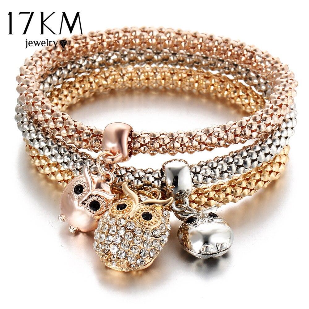 17km New 3pcs Gold Color Crystal Owl Charm Bracelets For Women Elephant Anchor Bracelet Multilayer Bangles Pulseira Feminina In Chain Link