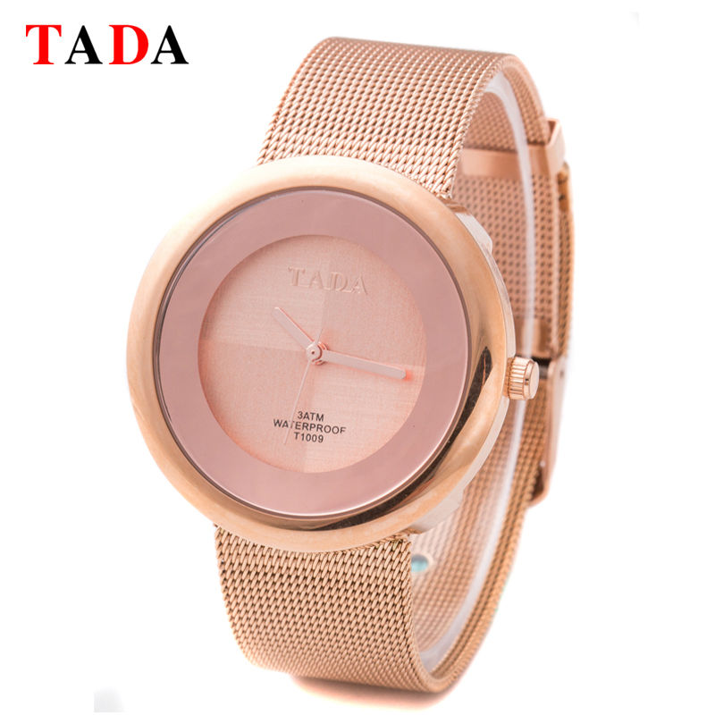 3ATM Waterpoof Quality TADA Gold/Silver Round Dial Watches Lady Japan Quartz Movement Fashion Analog Watches Reloj Female Clock