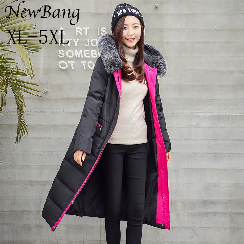 NewBang Brand 4XL 5XL Winter Women Long Down Jacket Jacket Plus Down Jacket With Fur Hood Real Fox Collar Thick Warm Parkas 2013 winter brand fashion luxury natural white fox fur collar hood denim jacket duck down jacket women outerwear s m l xl d2124