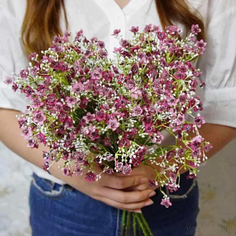 高級 babysbreath 植物造花プラスチックフェイクカスミソウ diy 飾るフラワーアレンジメント装飾花輪